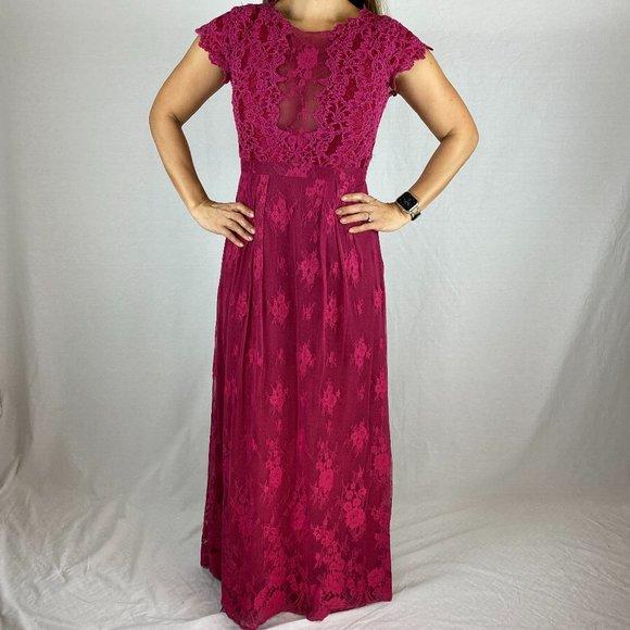 Monique Lhuillier Berry Lace Illusion Gown $495